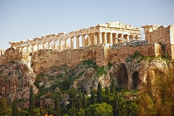 View of Parthenon on Acropolis Hill in the city of Athens