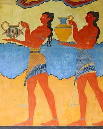 Ancient wall painting at Knossos, Crete