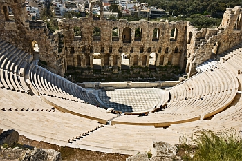 View of Herodion Theater in Athens