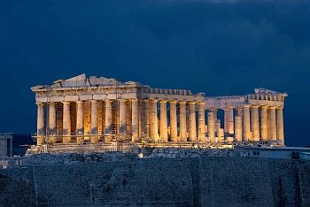 Night view of Parthenon on Acropolis Hill in Athens