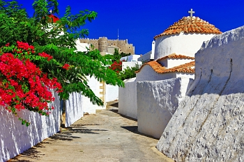 View of picturesque alley on Patmos island
