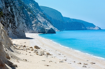 Amazing view of Egremni beach, its white-colored sand and beautiful turquoise waters on the Greek island of Lefkada