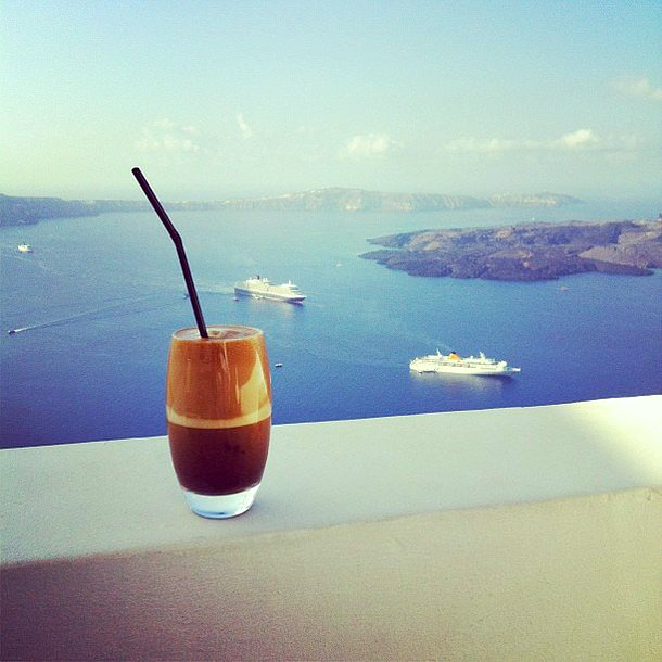Coffee with caldera view on Santorini island