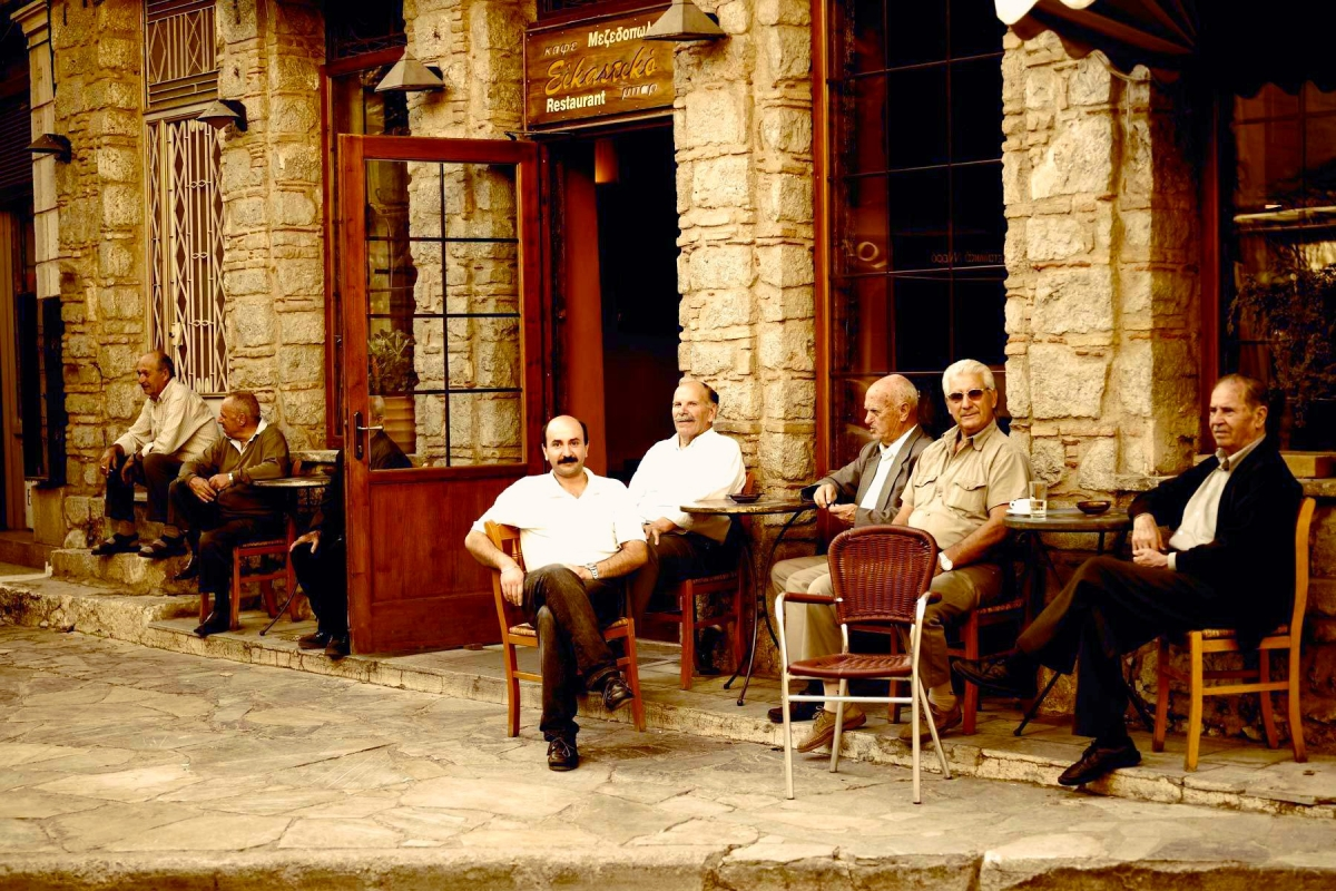 Greek men at a kafeneio