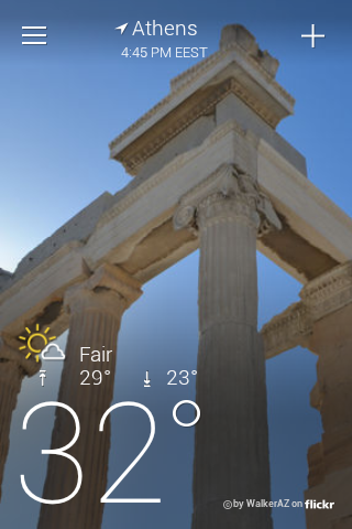 Photo of Yahoo Weather application