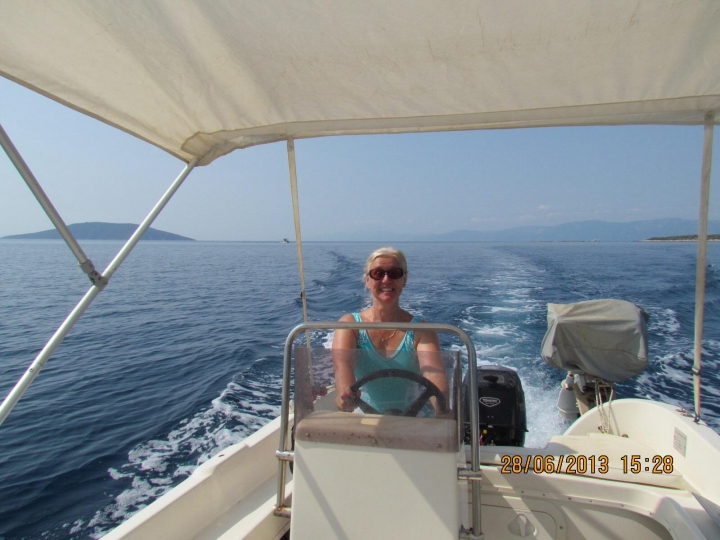 Gail Hodges - Riding the waves on the Aegean