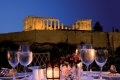Romantic dinner at Divani Palace Acropolis Hotel with view of the night lit Parthenon, Athens