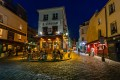 Le Consulat romantic cafe - restaurant by night at Monmartre of Paris, France