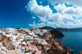 Sugar cubed houses perched on the volcanic cliffs, Santorini island
