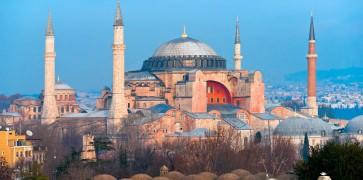 Exterior view of Hagia Sophia Mosque in Turkey